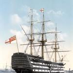HMS Victory. Lançado em 1765 é o mais antigo navio de guerra do mundo ainda em comissão e o único navio de linha sobrevivente