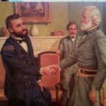 Gen. Grant - lado esquerdo se diz envergonhado por não estar devidamente trajado para este encontro; cumprimenta o Gen. Lee - e elogia sua elegância.